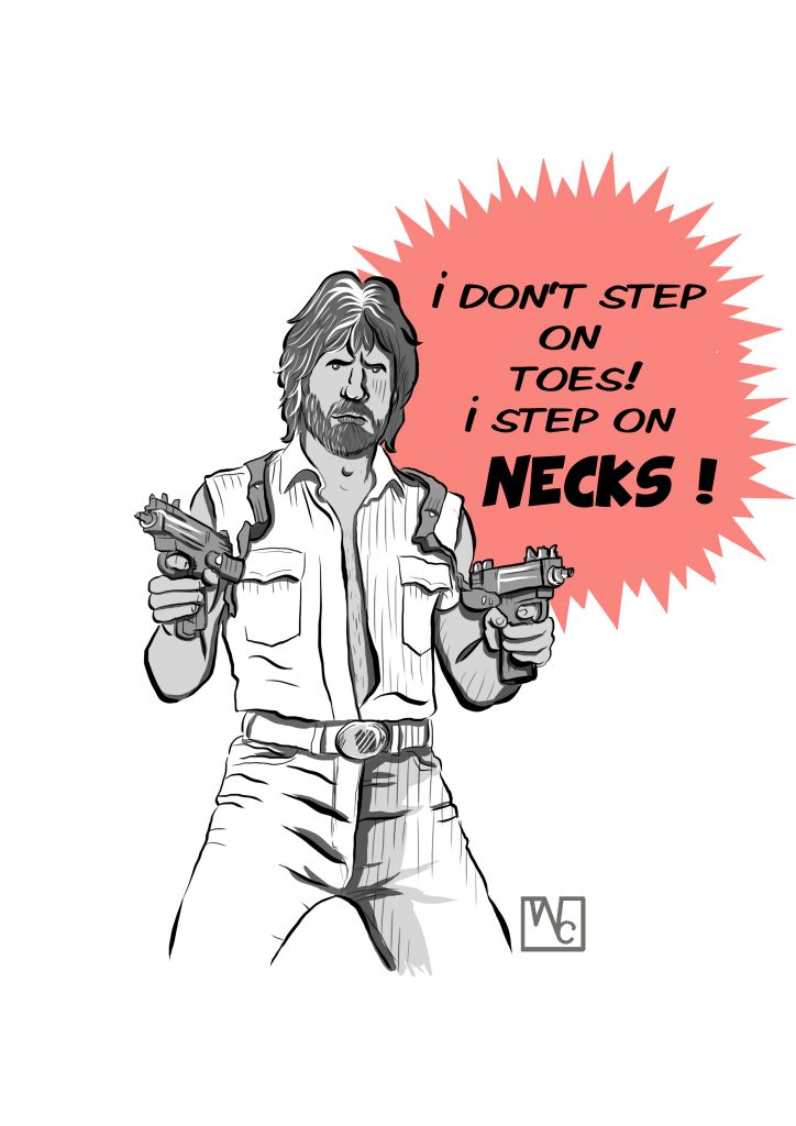 chuck norris fanart walker texas rangers little john illustration sketch webblog men mustache jeans guns hair digitalart painting art